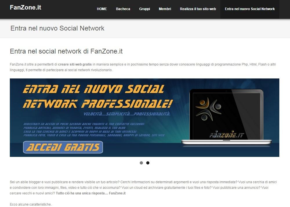 Sito social network Fanzone.it. Crea il tuo sito web gratis e partecipa al social network