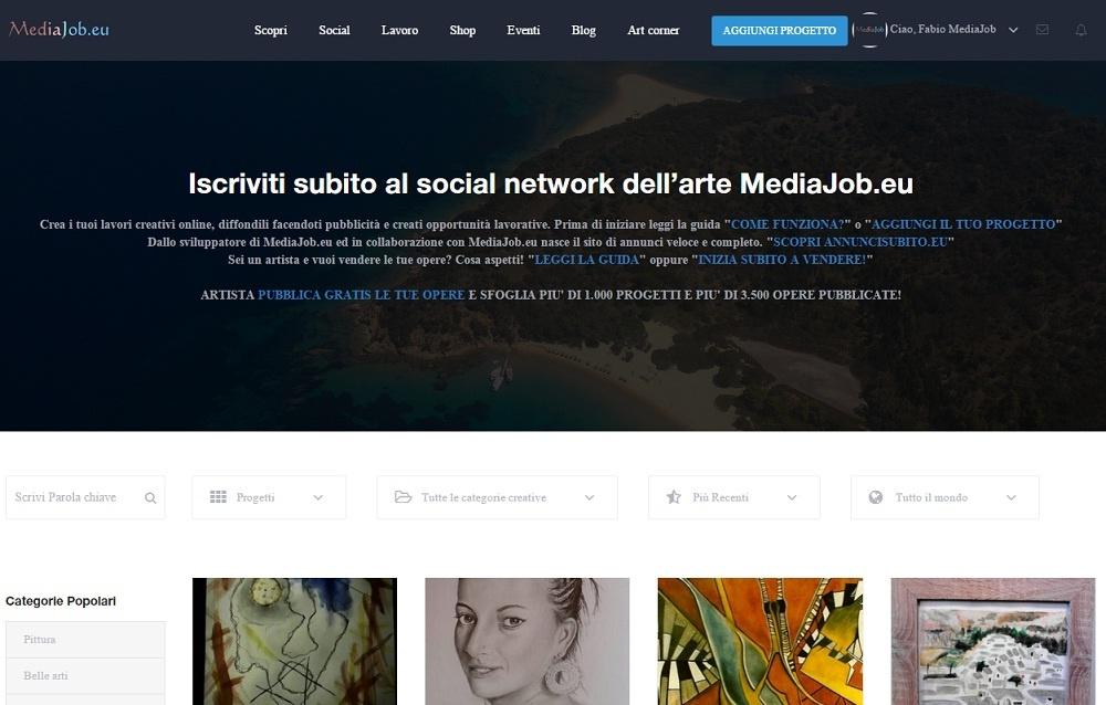Sito web arte Mediajob.eu. Vendita dipinti, quadri, arte e artisti
