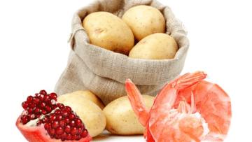 Spuma di patate, acciughe e panettone con gamberi in pasta kataifi